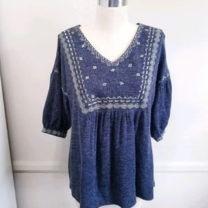 THML | Wool Embroidery bell sleeve top XL